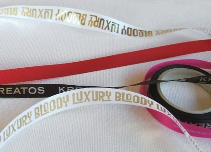 satin ribbon with text